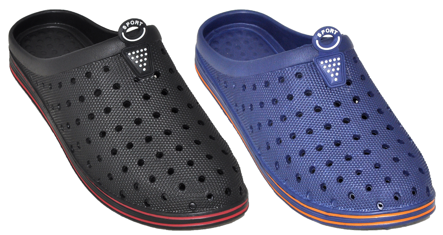 Men's Slip On CLOGS - Black & Navy [2339780]