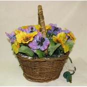 Lighted Pansy Flower with Basket Wholesale Bulk