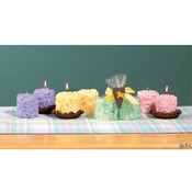 Pastel Nubby Candles with Tray