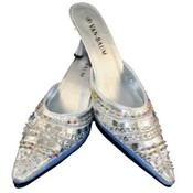 Women's Fashion Sequined Silver Slides / Mules