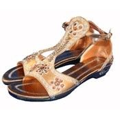 Women's Sequined Bronze Sandals
