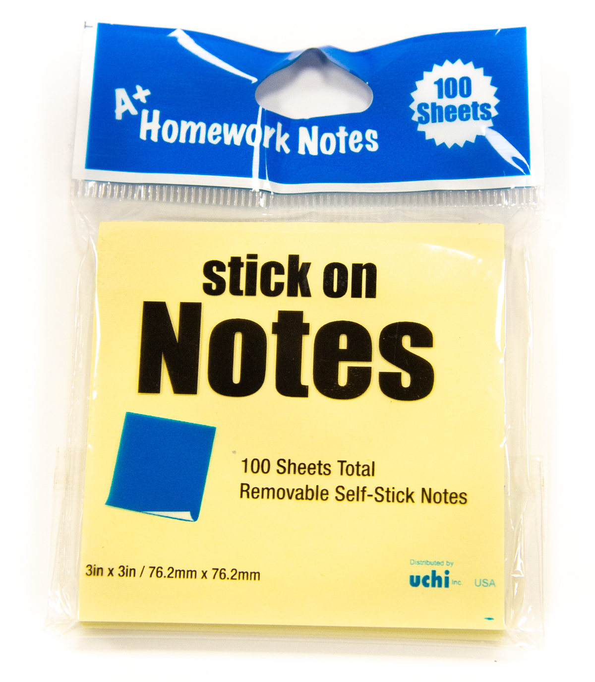 ''A+ Homework Stick On NOTES - 100 sheets - 3'''' x 3'''' [428253]''
