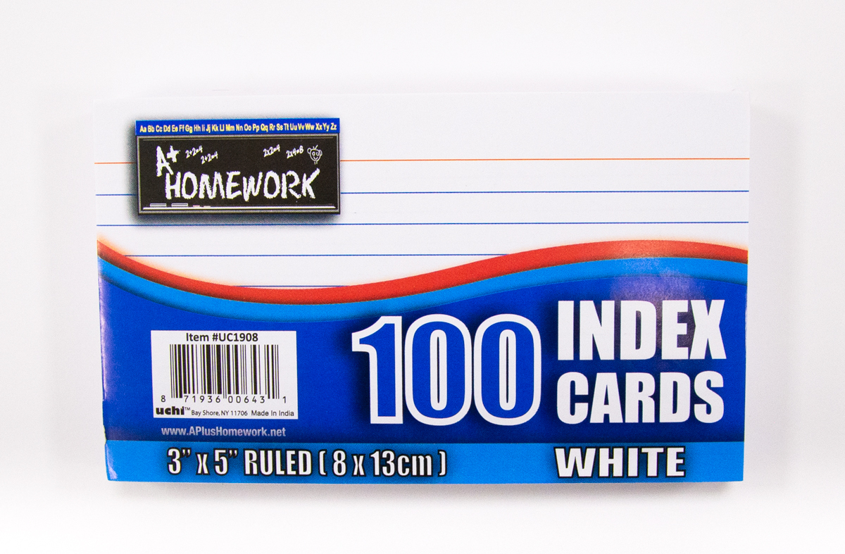''Index Cards White - Ruled - 100 Count - 3'''' x 5'''' (696620)''