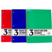 "Wire Note Book-120sh-3 Subject-Wide Rule-10.5""x8"""