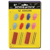Erasers - 12 Pack- Assorted Pencil Caps + Regular