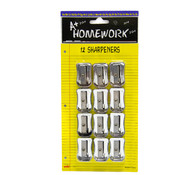 A+Homework Pencil Sharpeners - 12 pack - silver plastic Wholesale Bulk