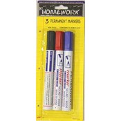 Permanent Markers - 3 pack - black,red,blue