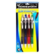 A+Homework Retractable Ball Point Pens -4 Pack-Black Ink Wholesale Bulk
