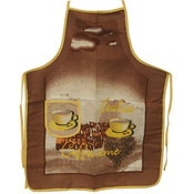 A.S.M. Home Collection Coffee Design Apron- Brown Wholesale Bulk