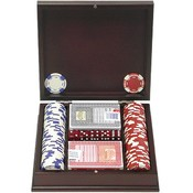 100 11.5G Holdem Poker Chip Set w/Mahogany Case