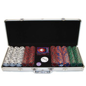 500 14g 3 COLOR A/K SUITED CLAY POKER CHIP SET W/A