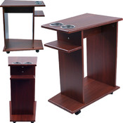 Mahogany Poker Drink Food Cart with Cup Holders