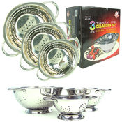 3 Piece Deluxe Stainless Steel Colander Set - As S