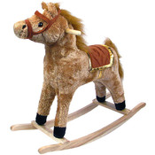 Horse Plush Rocking Horse - Wooden Rocker