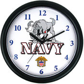 Deluxe Chiming US Navy Clock Featuring Goat Mascot