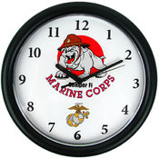 Deluxe Chiming US Marines Clock Featuring Bull Dog