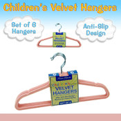 Set of 6 Children's Velvet Hangers - PINK