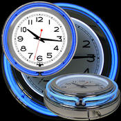 14 Inch Double Ring Neon Clock Blue Outer White In