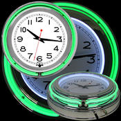 14 Inch Double Ring Neon Clock Green Outer White I