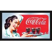 Coca-Cola Vintage Mirror Horizontal Waitress w/ Co