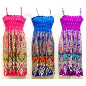 Wholesale Simple Strap Paisley Print Bright Color Dresses