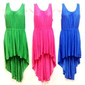 Wholesale Solid Color High Low Dresses Pink Green Blue Orange