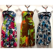 Beaded Neck Floral Dresses w/ Adjustable Ties
