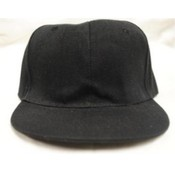 Black Fitted Flat Bill Hats Various Sizes