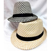 Straw Checkers Classic Fedora Hats