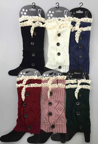 Short Boot Topper Leg Warmers with Lace Trim [1934148]