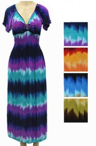 Tie Dye Short Sleeve Maxi SUMMER DRESS (1944918)