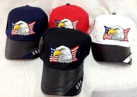 American Flag Eagle Head Hat with LEATHER Bill [1334168]