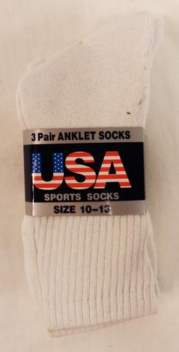 White Long Mens Socks Size 10-13 [1859695]