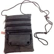 Wholesale Black Leather Sling Bags with 3 zipper pockets