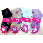 Wholesale Peace Sign Girl Socks fits size 5-8