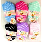 Girls' Fuzzy Socks Asst w/Stripes Wholesale Bulk