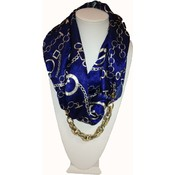 Marc Gold Infinity Scarf- Blue With Chain