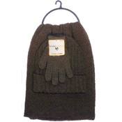 Marc Gold Men's 3 Pc Winter Accessory Set Brown