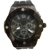 Mens Fashion Watch Brushed Black Case with Black Silicone Band