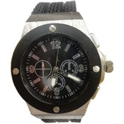 Mens Fashion Watch Brushed Silver Case with Black Silicone Band