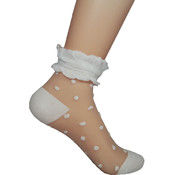Sheer Crew Sock w/Stitched Pattern and Trim- White
