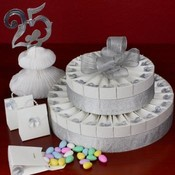 2 Tier Silver Anniversary Favor Cake Kit