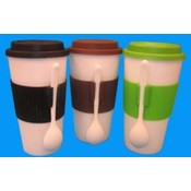 16 oz Thermal Coffee Or Soup Mug & Spoon 3 Colors Wholesale Bulk