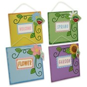 "Plaque Sign with Flower, Wooden 8"" Assorted"