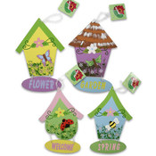 "Bird House Plaque, Wooden 9.5"" Assorted"
