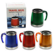 4.75' Stainless Steel Travel Mug with Lid - Assorted Colors Wholesale Bulk