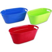 Plastic Oval Tub With Handles Assorted 19.5 Inches Long