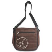 13.5' Polyester Messenger Bag Peace Sign Brown Wholesale Bulk
