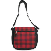 13.5' Polyester Messenger Bag Red & Black Plaid Wholesale Bulk