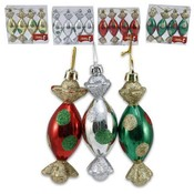 Candy Drop Ornament Glittered 4 Pieces